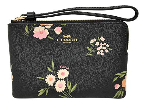 Coach Corner Zip Wristlet Pouch Bag Black Pink Daisy