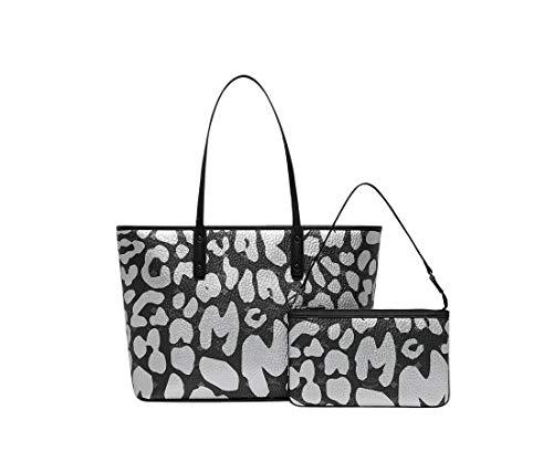 3b83dc44a10cc MCM Women's Black/Silver Coated Canvas Leopard Print Tote Bag MWP8AVI95BK001