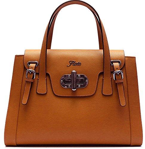 Floto Tavani Bag in Brown Italian Saffiano Leather