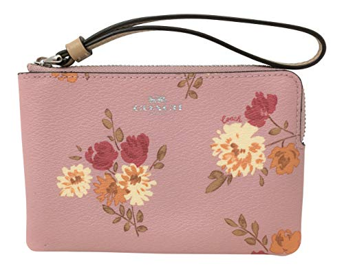 Coach Corner Zip Wristlet Peony Pink Carnation Light Khaki Bag