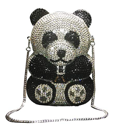 Panda Rhinestone Handbag Luxury Party Purse Crystal Diamond Clutch Animal Special Women Bling Evening Bag
