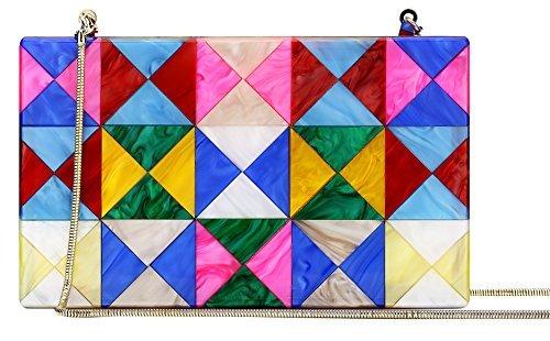 Colorful Acrylic Clutch Purses Gold Chain Bag Geometric Pattern Desiger Multi Color