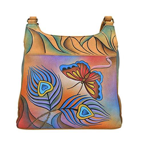 Anna by Anuschka Satchel Handbag   Genuine Leather   Peacock Butterfly