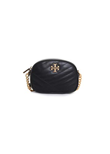 Tory Burch Kira Leather Chevron Small Camera Bag in Black