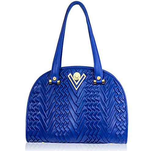 Valentino Orlandi Italian Designer Cobalt Blue Pleated Draped Leather Large Purse Bowling Bag