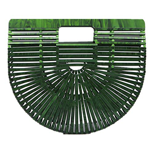 Beauty YaYa Ark Bamboo/Acrylic Clutch Handbag Wooden Purse Tote Bag (Acrylic Green)