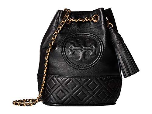 Tory Burch Fleming Mini Ladies Black Leather Bucket Bag 49321-001