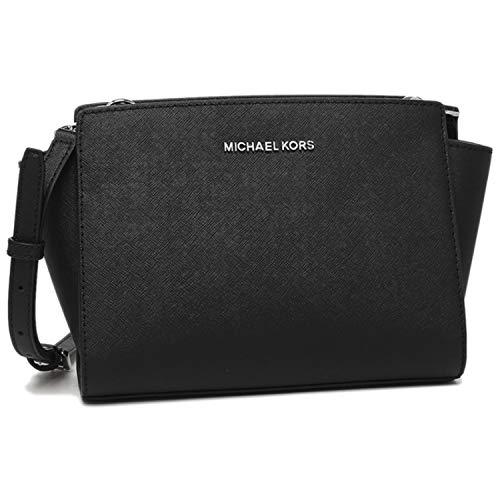MICHAEL Michael Kors MD Saffiano Leather Messenger NS Selma Crossbody Satchel Handbag 35H8SLMM6L (BLACK)