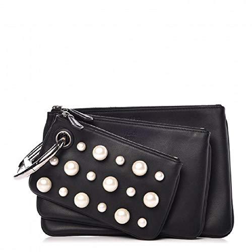 Fendi Women's Black Leather Pearl Studded Triplette Multi Clutch Handbag 8BS001