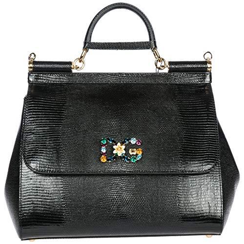Dolce&Gabbana women's leather handbag shopping bag purse sicily black
