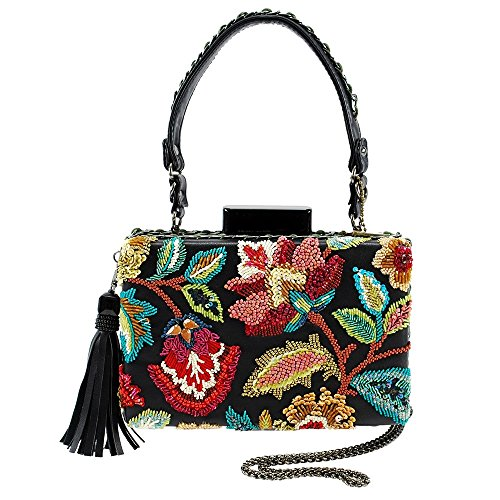 MARY FRANCES Garden Tour Beaded Top-Handle Floral Handbag