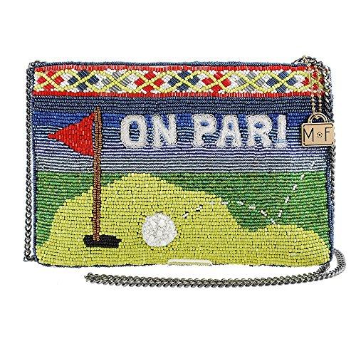 MARY FRANCES Par-Tee Golf Themed Beaded/Embroidered Top Zipper Crossbody Handbag