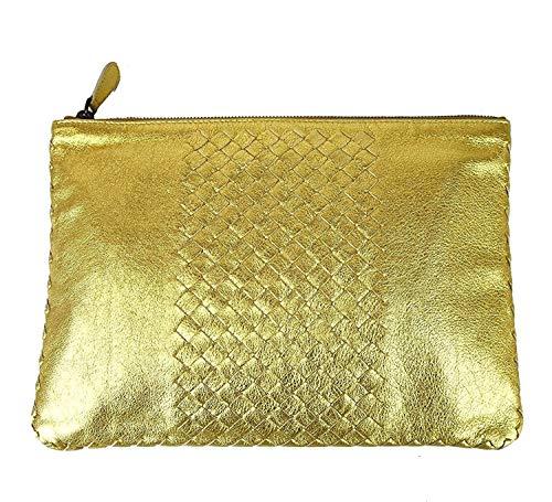 Bottega Veneta Women's Gold Leather Woven Clutch Bag 302294 8417