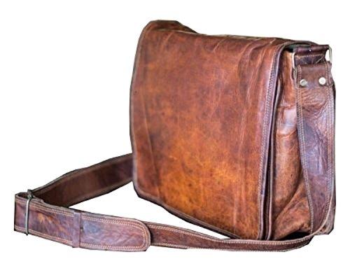 hlc 15 Inch Leather Full Flap Messenger Handmade Bag Laptop Bag Satchel Bag Padded Messenger Bag School Brown (15X11)