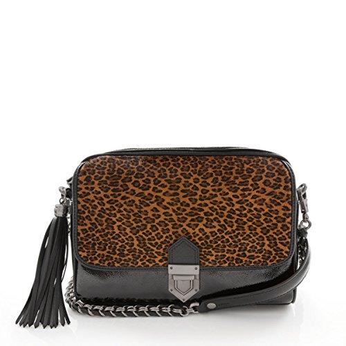 Eric Javits Luxury Fashion Designer Women's Handbag – Zip Pouch Bag -Leopard/Black