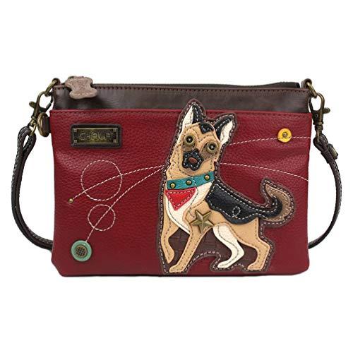 Chala Handbags German Shephard Mini Crossbody Handbag Dog Lovers Convertible Straps German Shephard Mom