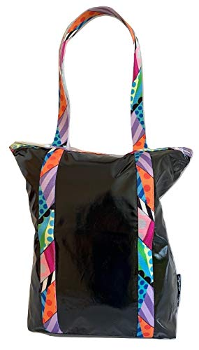 LeSportsac Jason Woodside, Black Dimension Patent Abstract Daily Tote, Style 8314/Color G419