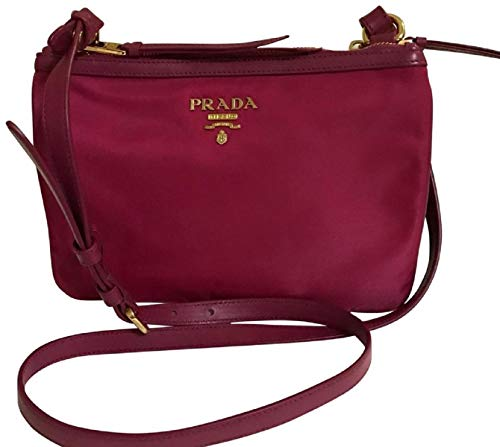 Prada Nylon Leather Ibisco (Pink) Double Zipper Crossbody Bag 1BH046