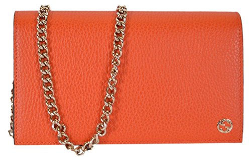 Gucci Women's Leather Interlocking GG Crossbody Wallet Purse (466506/Sun Orange)
