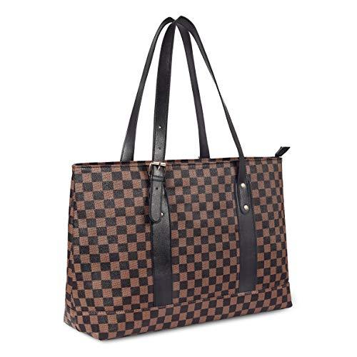 WODKEIS Checkered Tote Bag for Women PU Shoulder Bags Tote Handbags Purse,Brown