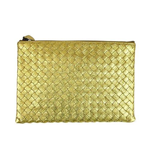 Bottega Veneta Intrecciato Woven Gold Leather Clutch Pouch Bag 302293 8417