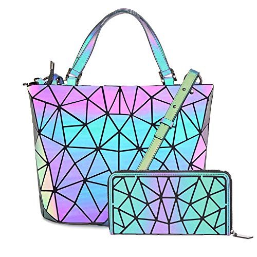 HotOne Geometric Luminous Purses and Handbags Shard Lattice Eco-Friendly Leather