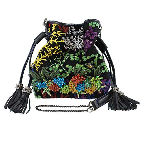 MARY FRANCES Down Under Embroidered Ocean Life Theme Mini Drawstring Handbag