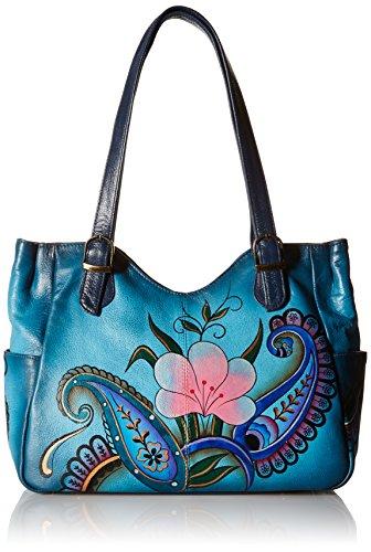 Anna by Anuschka Shoulder Bag   Genuine Leather   Denim Paisley Floral