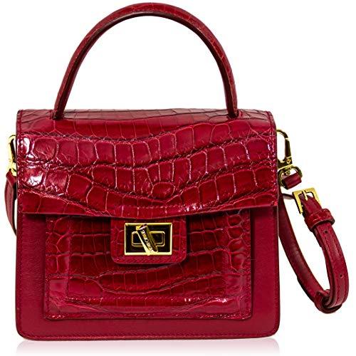 Silvano Biagini Italian Designer Garnet Red Real Crocodile Divina Leather Box Purse Bag