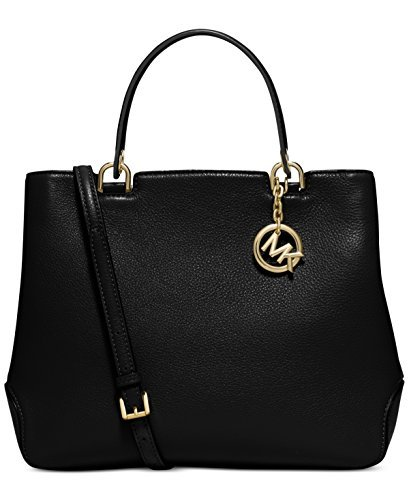 Michael Kors Women's Anabelle Leather Top Zip Tote, Black, Large