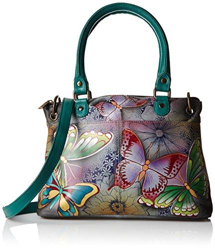 Anna by Anuschka Satchel Handbag   Genuine Leather   Butterfly Paradise