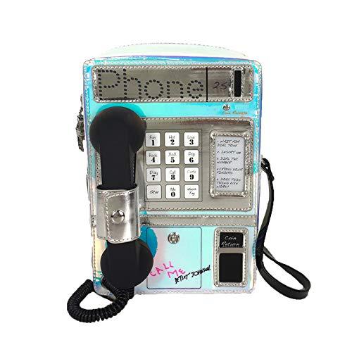Betsey Johnson Phone Tag Kitsch Pay Phone (Works!) Crossbody, Iridescent Multi