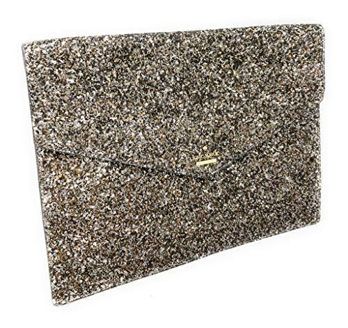 Kate Spade Mallo Laurel Way Glitter Clutch Evening Bag Gunmetal