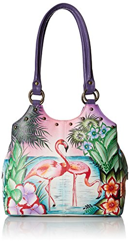 Anna by Anuschka Satchel Handbag | Genuine Leather | Tropical Flamingo
