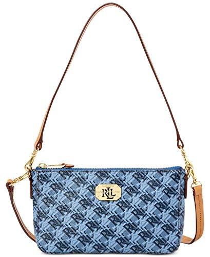 Lauren Ralph Lauren Womens Dobson Pam Faux Leather Crossbody Handbag Blue Small