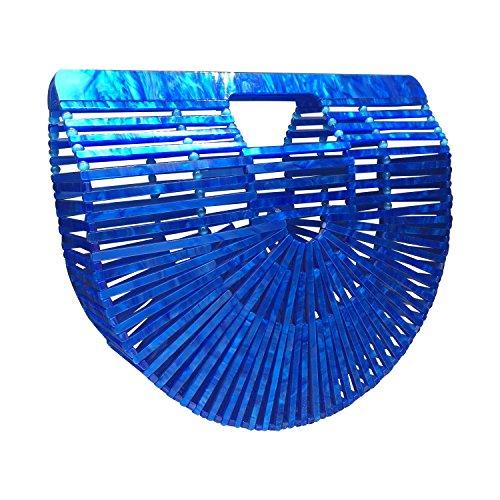 Beauty Womens Ark Bamboo/Acrylic Clutch Handbag Large Tote Bag Beach Bag (Acrylic Blue)