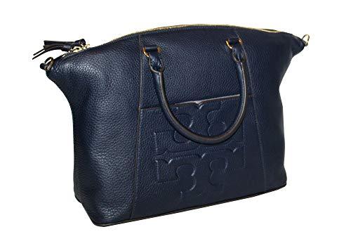 Tory Burch Bombe T Medium Slouchy Leather Satchel Bag Women's Handbag (Tory Navy)