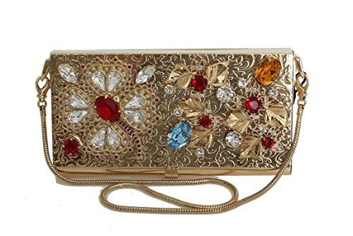Dolce & Gabbana Gold Brass Crystal Clutch Bag