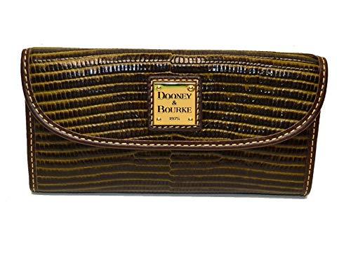 Dooney & Bourke Lizard emb Leather Continental Clutch Olive/T'Moro