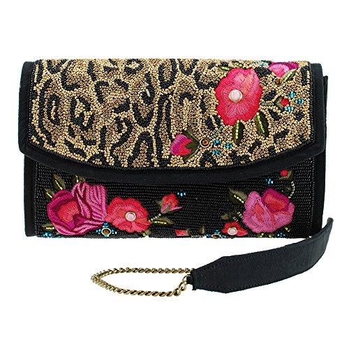 Mary Frances FLOWERS GONE WILD Leopard Animal Flower Bag Handbag Beaded New