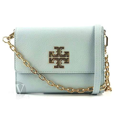 Tory Burch Women's Britten Chain Wallet Crossbody Bag, Blue Seltzer