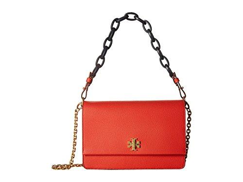 Tory Burch Kira Italian Leather Shoulder Bag- Poppy Red/Navy