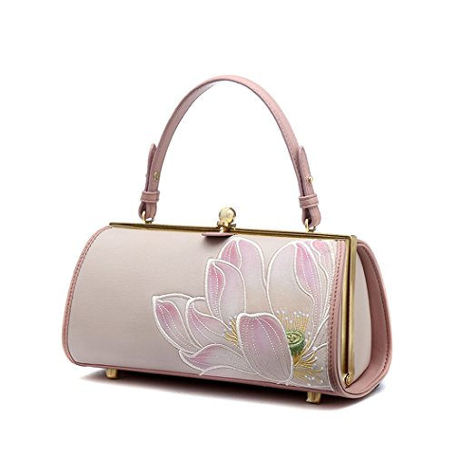 Leather Top-Handle Evening Clutches Wedding Purses w/China's Style Embroidery
