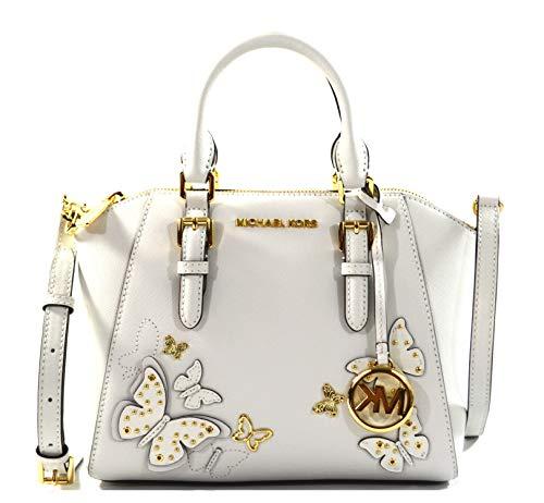 Michael Kors Ciara Butterflies Saffiano Leather Medium Messenger Crossbody Bag Purse Handbag, Optic White