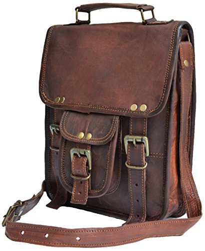Genuine distressed leather shoulder bag satchel for men messenger bag ipad case tablet bag