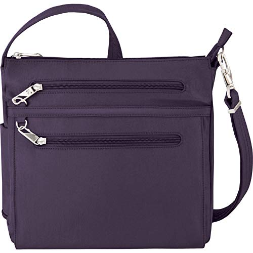 Travelon Anti-Theft Essential North/South Bag – Small Nylon Crossbody for Travel & Everyday – (Purple/Gray Interior)