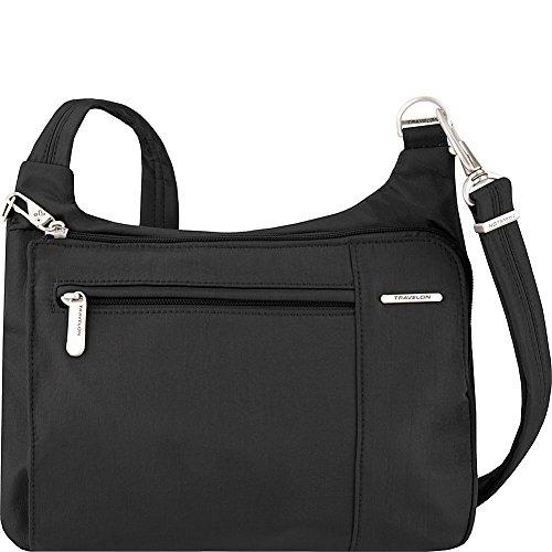 Travelon Anti-Theft Asymmetric East/West Bag – Small Nylon Crossbody for Travel & Everyday – (Black/Dusty Rose Interior)