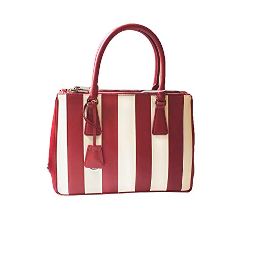 Prada Women's Saffiano Baide Red and White Handbag 1BA862