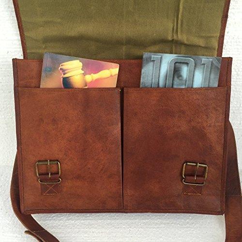 PL Leather Messenger Bag 16″ / Brown Leather Briefcase/Retro Handbag/Satchel/Hip Bag/Shoulder Bag/Carry Bag/Cabin Travel Bag for Men and Women
