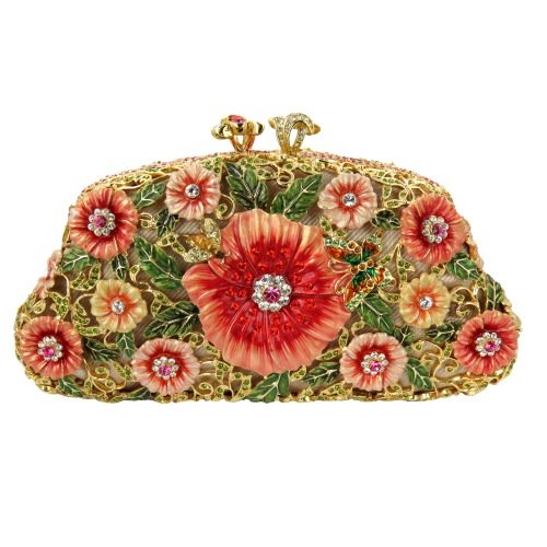 Gold Plated Red Floral Clutch Bag With Matching Themed Swarovski Elements Crystals